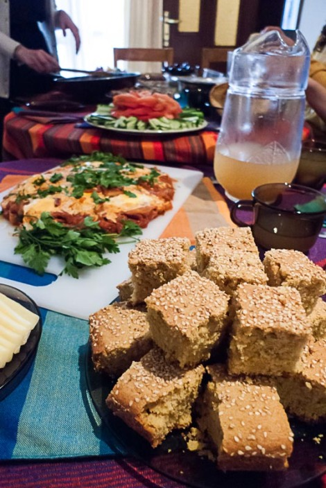 From front to back: Sfoof cake, shakshukah, rosewater lemonade, and fruit platter.